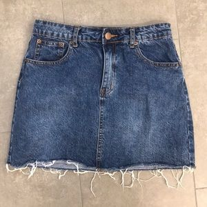 Tobi Florence Medium Wash Denim Mini Skirt